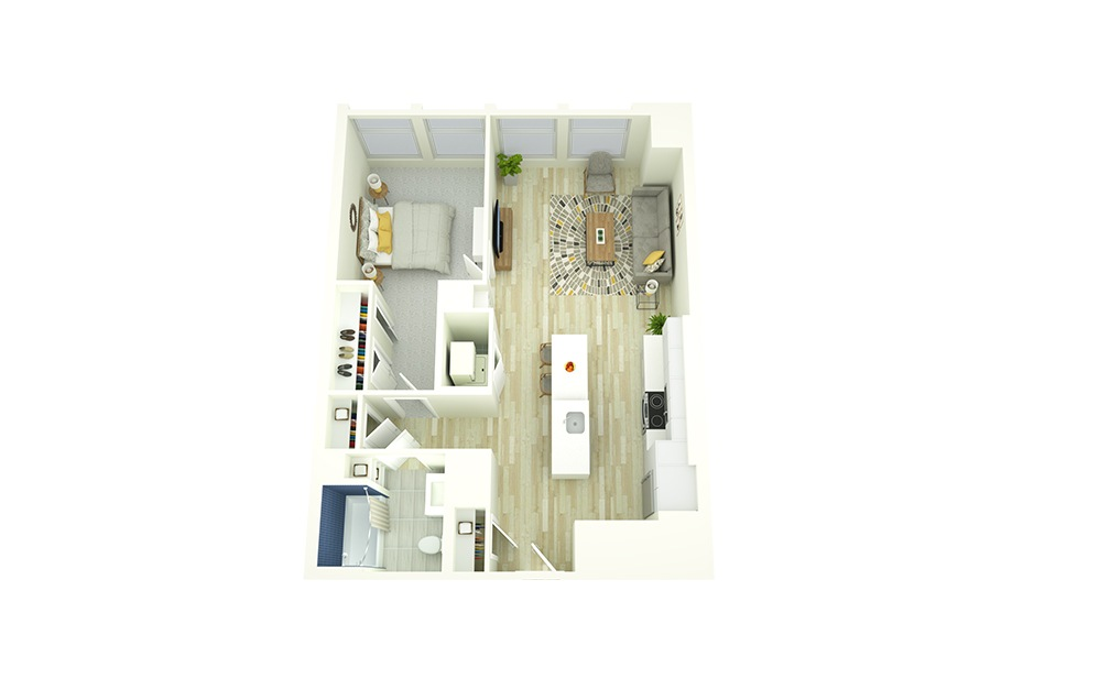 A10 - 1 bedroom floorplan layout with 1 bath and 767 square feet.