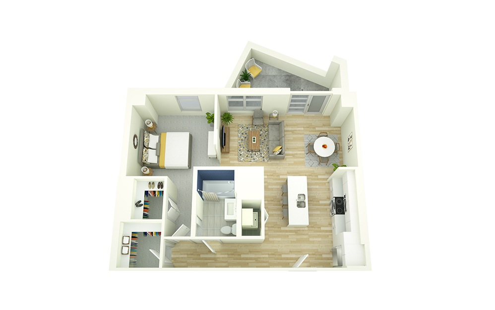 A11 - 1 bedroom floorplan layout with 1 bath and 773 square feet.