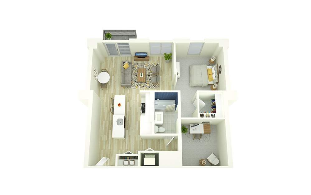 A13D - 1 bedroom floorplan layout with 1 bath and 821 square feet.