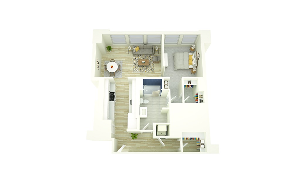 A14 - 1 bedroom floorplan layout with 1 bath and 825 square feet.