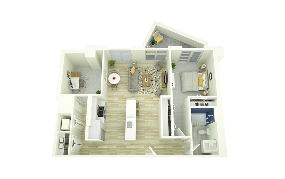 A15D - 1 bedroom floorplan layout with 1 bath and 866 square feet.