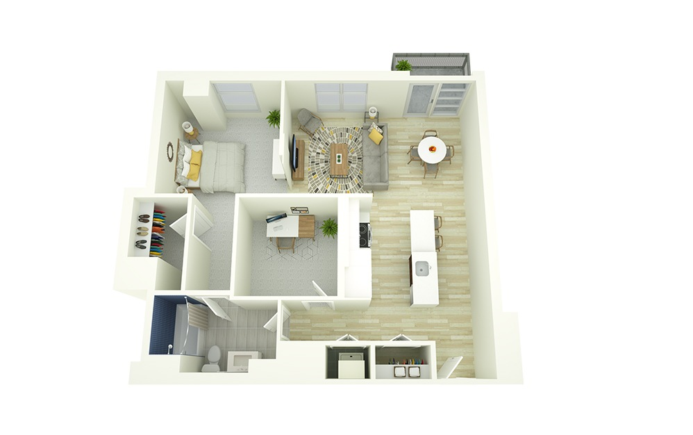 A17D - 1 bedroom floorplan layout with 1 bath and 882 square feet.