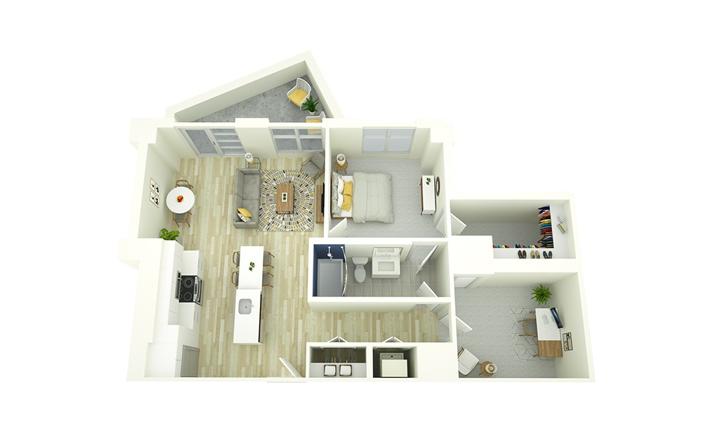 A18D - 1 bedroom floorplan layout with 1 bath and 904 square feet.