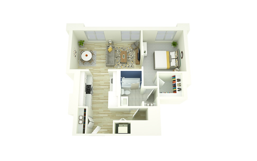 A2 - 1 bedroom floorplan layout with 1 bath and 704 square feet.