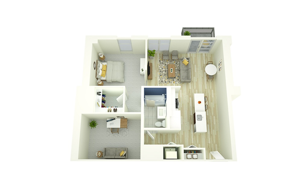 A20D - 1 bedroom floorplan layout with 1 bath and 907 square feet.
