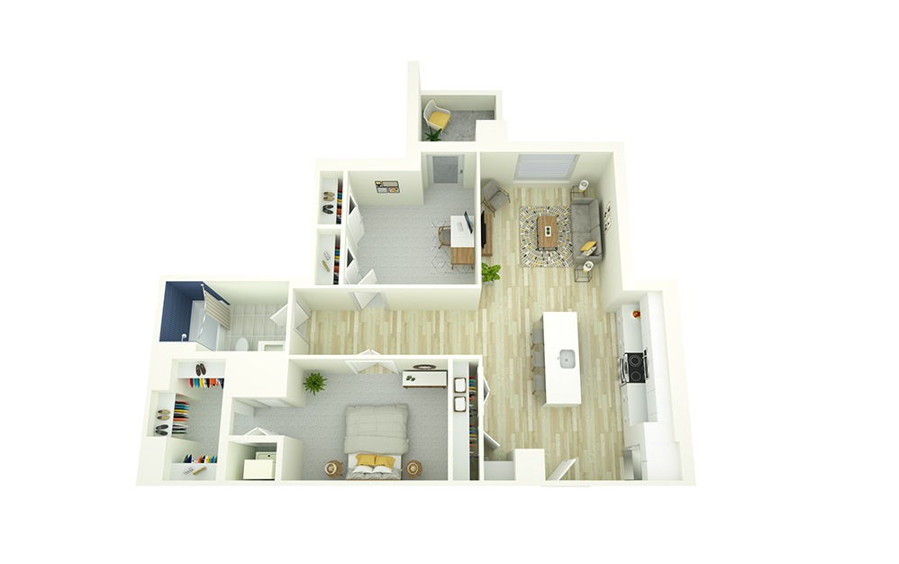 A21D - 1 bedroom floorplan layout with 1 bath and 935 square feet.