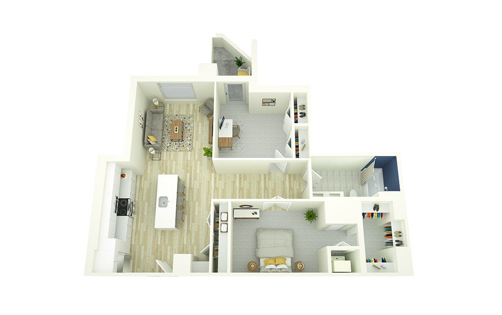 A22D - 1 bedroom floorplan layout with 1 bath and 959 square feet.