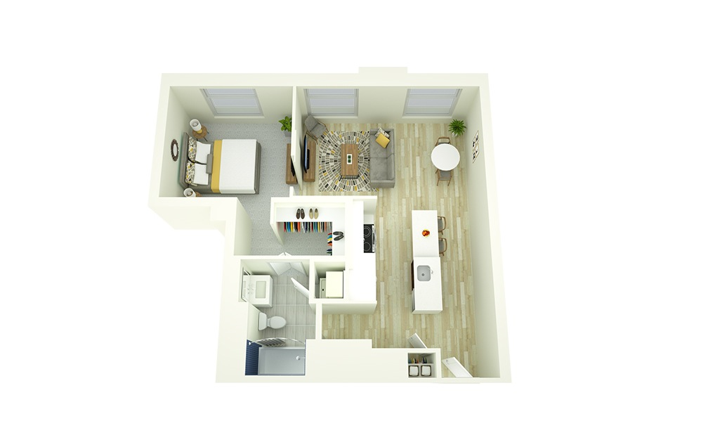 A3 - 1 bedroom floorplan layout with 1 bath and 727 square feet.