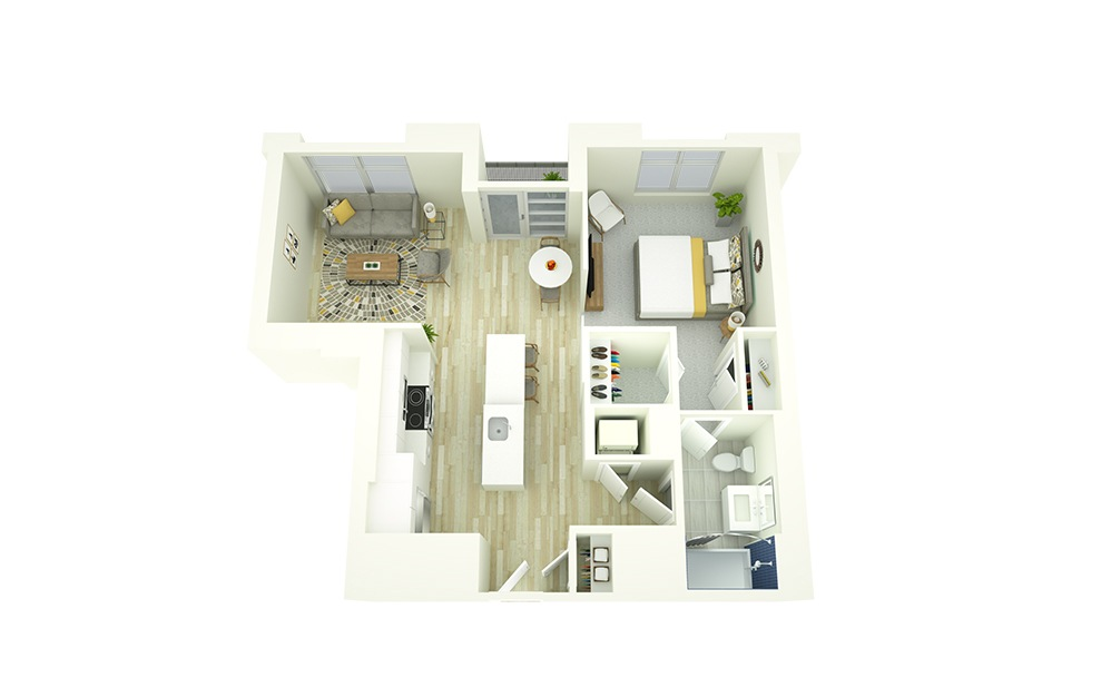 A6 - 1 bedroom floorplan layout with 1 bath and 737 square feet.