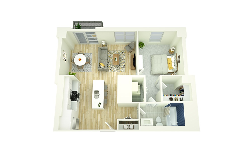 A7 - 1 bedroom floorplan layout with 1 bath and 745 square feet.
