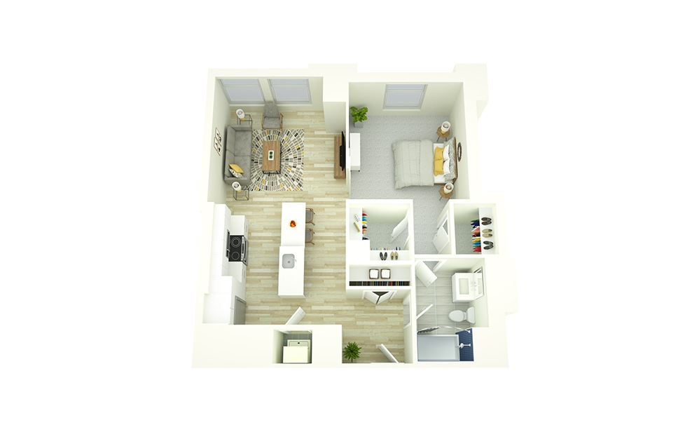 A9 - 1 bedroom floorplan layout with 1 bath and 766 square feet.