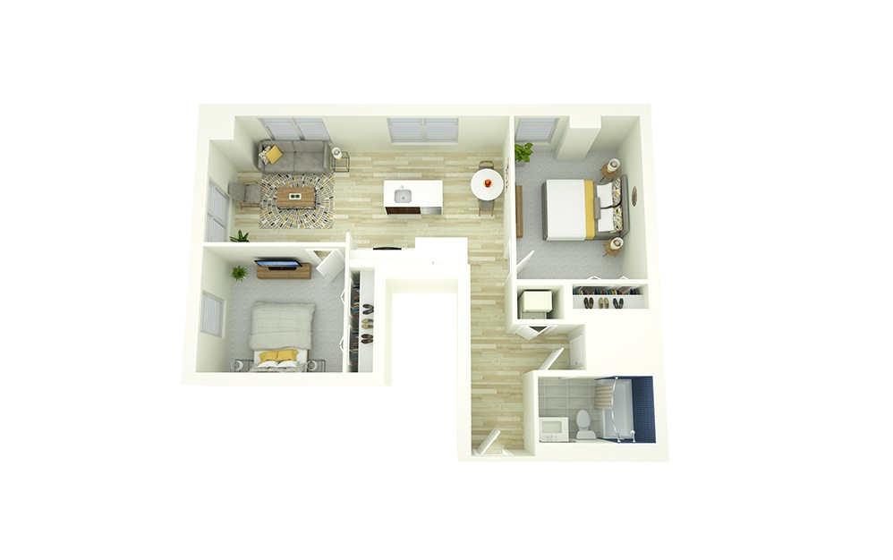 B1 - 2 bedroom floorplan layout with 1 bath and 810 square feet.
