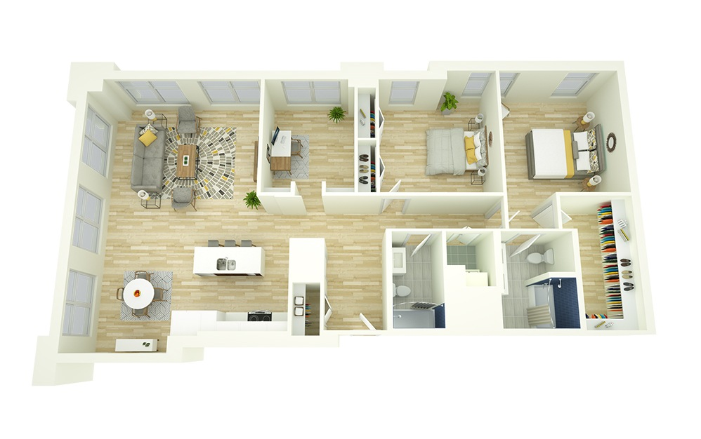B10D - 2 bedroom floorplan layout with 2 baths and 1654 square feet.