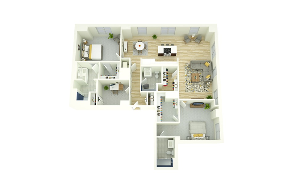 B11D - 2 bedroom floorplan layout with 3 baths and 1661 square feet.