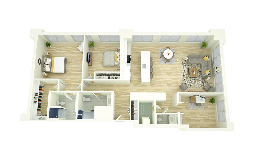 B12D - 2 bedroom floorplan layout with 2.5 baths and 1662 square feet.