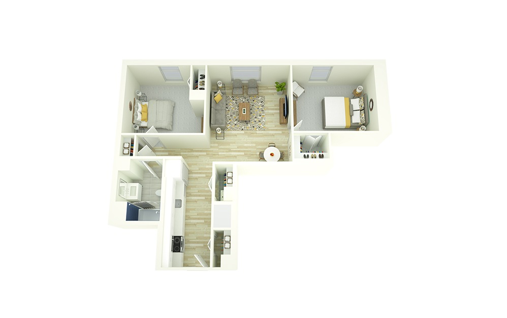 B2 - 2 bedroom floorplan layout with 1 bath and 922 square feet.