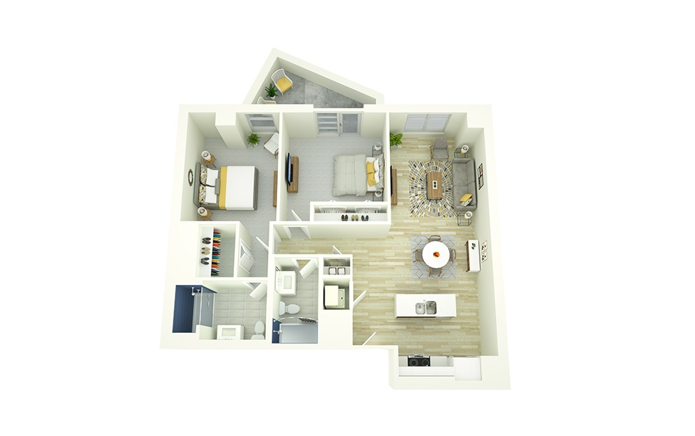 B3 - 2 bedroom floorplan layout with 2 baths and 1052 square feet.