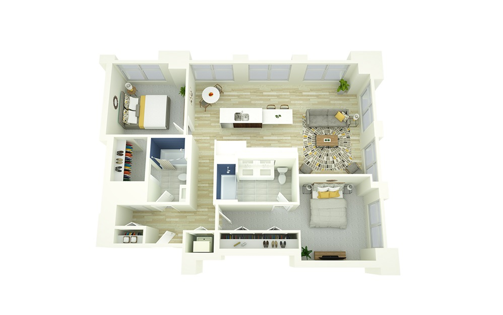 B5 - 2 bedroom floorplan layout with 2 baths and 1124 square feet.