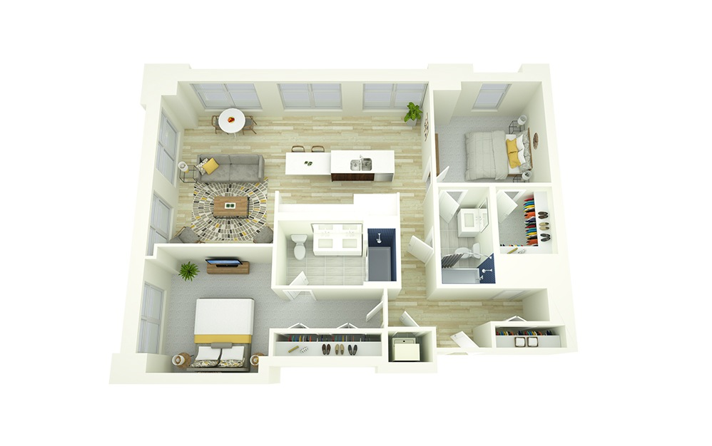 B6 - 2 bedroom floorplan layout with 2 baths and 1147 square feet.