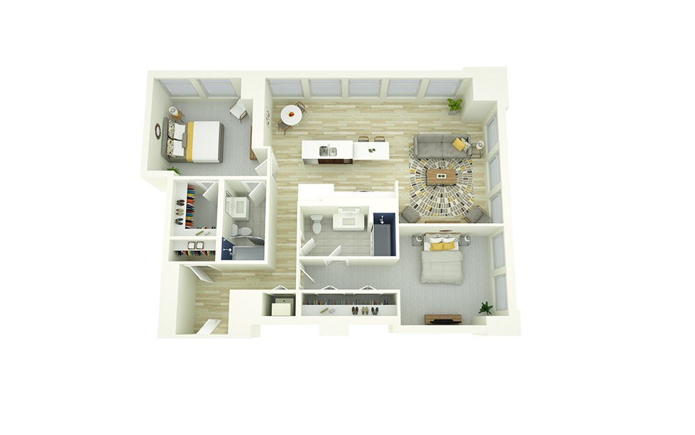 B7 - 2 bedroom floorplan layout with 2 baths and 1272 square feet.