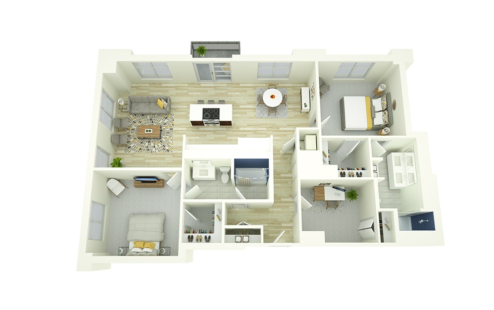 B8D - 2 bedroom floorplan layout with 2 baths and 1314 square feet.
