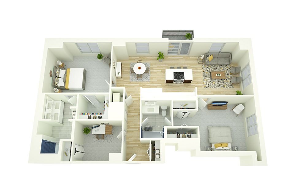 B9D - 2 bedroom floorplan layout with 2 baths and 1324 square feet.