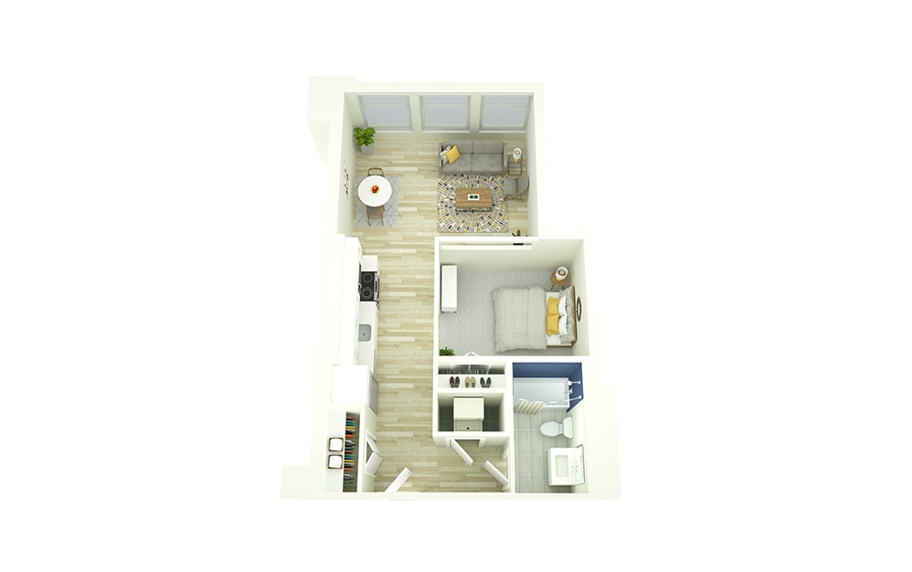 E1 - 1 bedroom floorplan layout with 1 bath and 592 to 684 square feet.