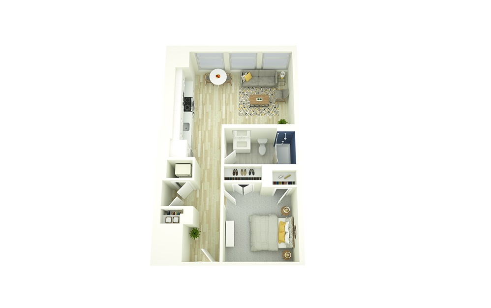 E2 - 1 bedroom floorplan layout with 1 bath and 624 square feet.