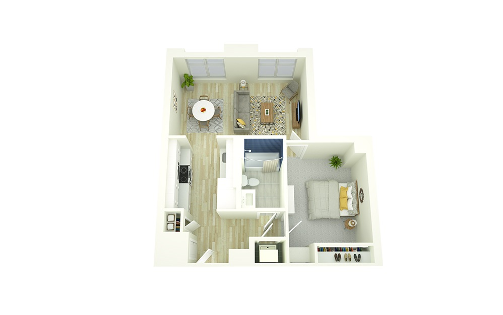 E3 - 1 bedroom floorplan layout with 1 bath and 627 to 723 square feet.