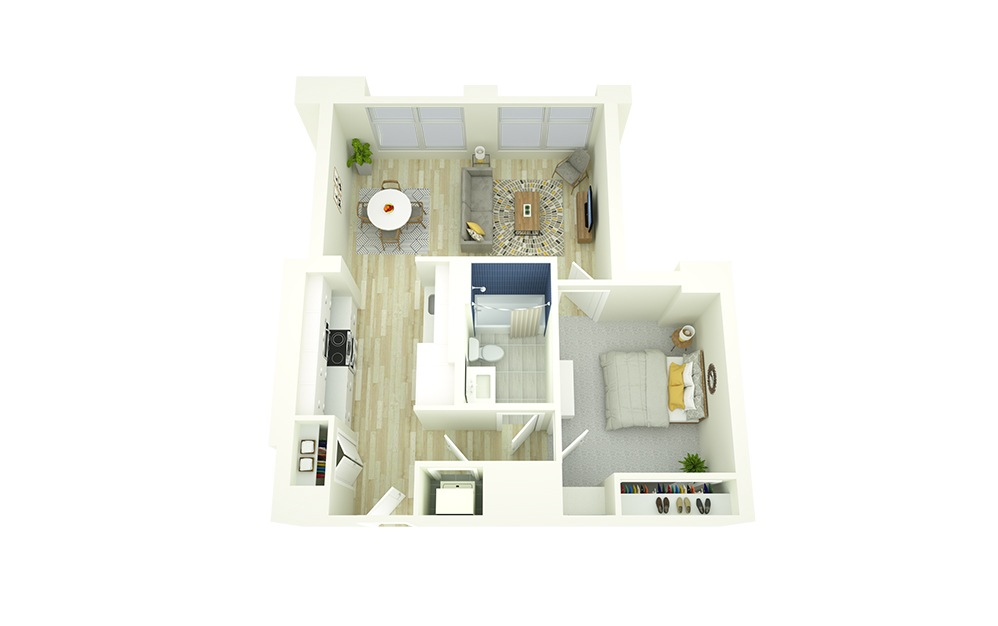 E5 - 1 bedroom floorplan layout with 1 bath and 635 to 728 square feet.
