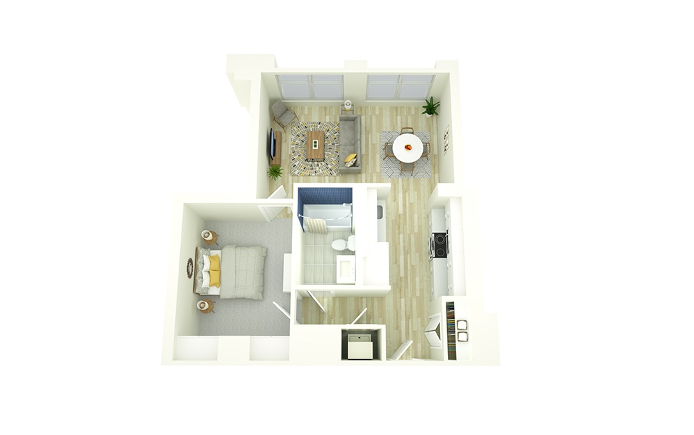 E6 - 1 bedroom floorplan layout with 1 bath and 638 square feet.