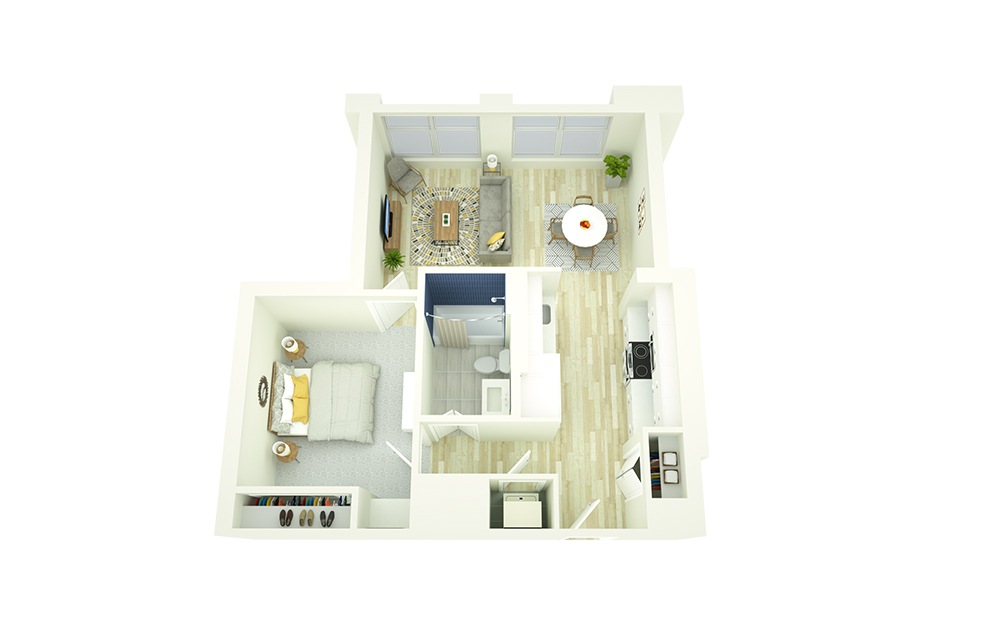 E7 - 1 bedroom floorplan layout with 1 bath and 645 square feet.