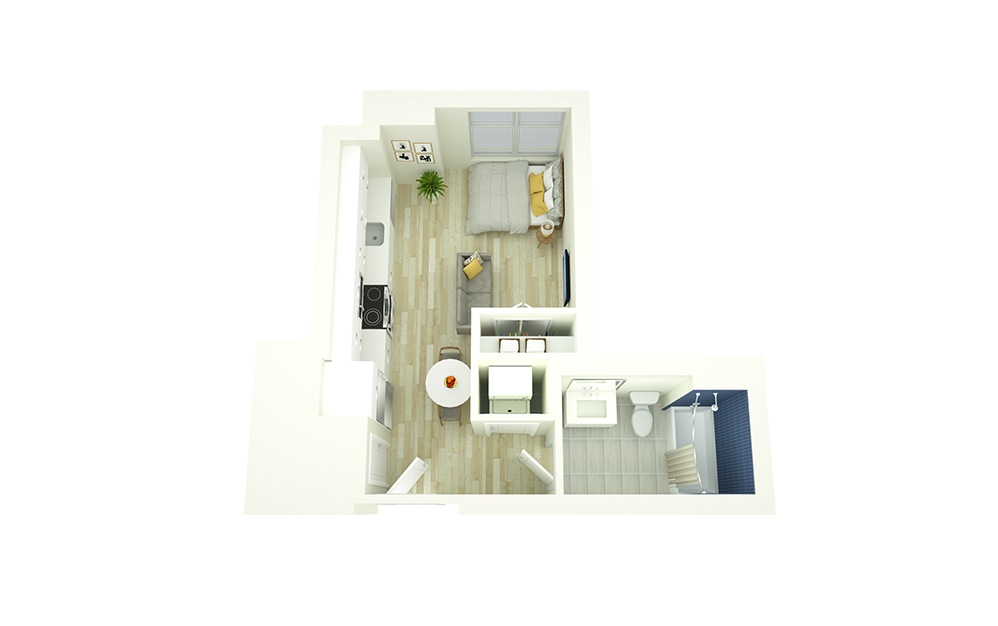 S1 - Studio floorplan layout with 1 bath and 343 square feet.