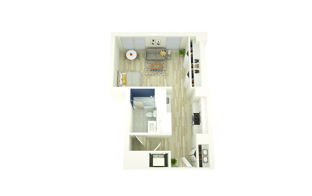 S2 - Studio floorplan layout with 1 bath and 477 square feet.