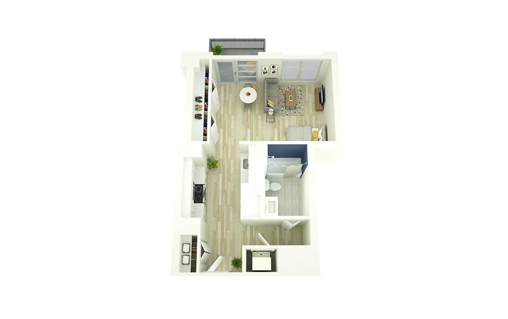 S3 - Studio floorplan layout with 1 bath and 478 square feet.