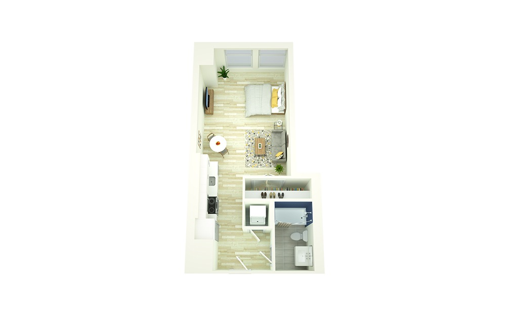 S4 - Studio floorplan layout with 1 bath and 478 square feet.