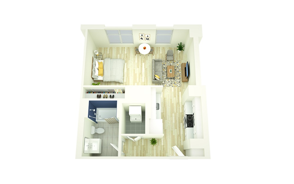 S5 - Studio floorplan layout with 1 bath and 522 to 524 square feet.