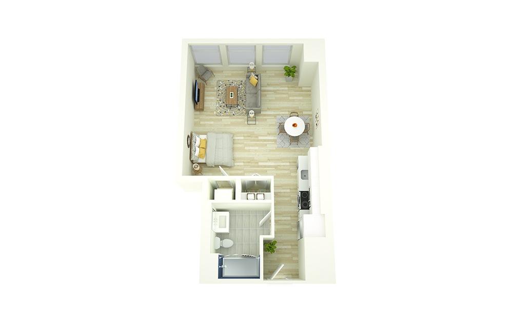 S7 - Studio floorplan layout with 1 bath and 561 square feet.