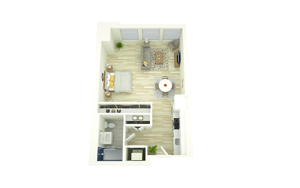 S8 - Studio floorplan layout with 1 bath and 576 to 633 square feet.